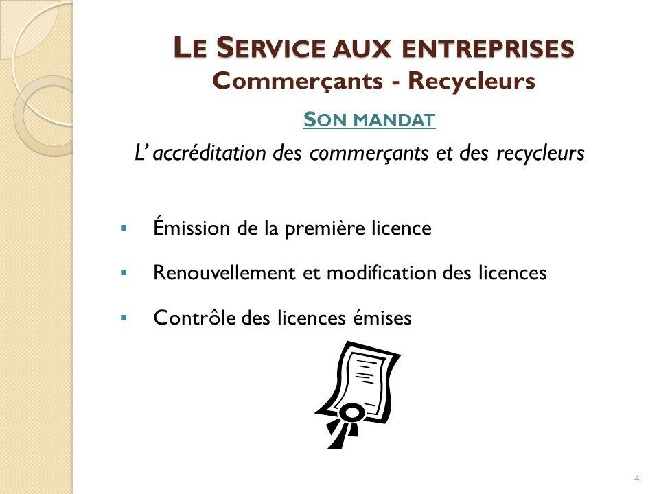 L E S ERVICE AUX ENTREPRISES L E S ERVICE AUX ENTREPRISES Commerçants - Recycleurs S ON MANDAT L' accréditation des commerçants et des recycleurs  Ém