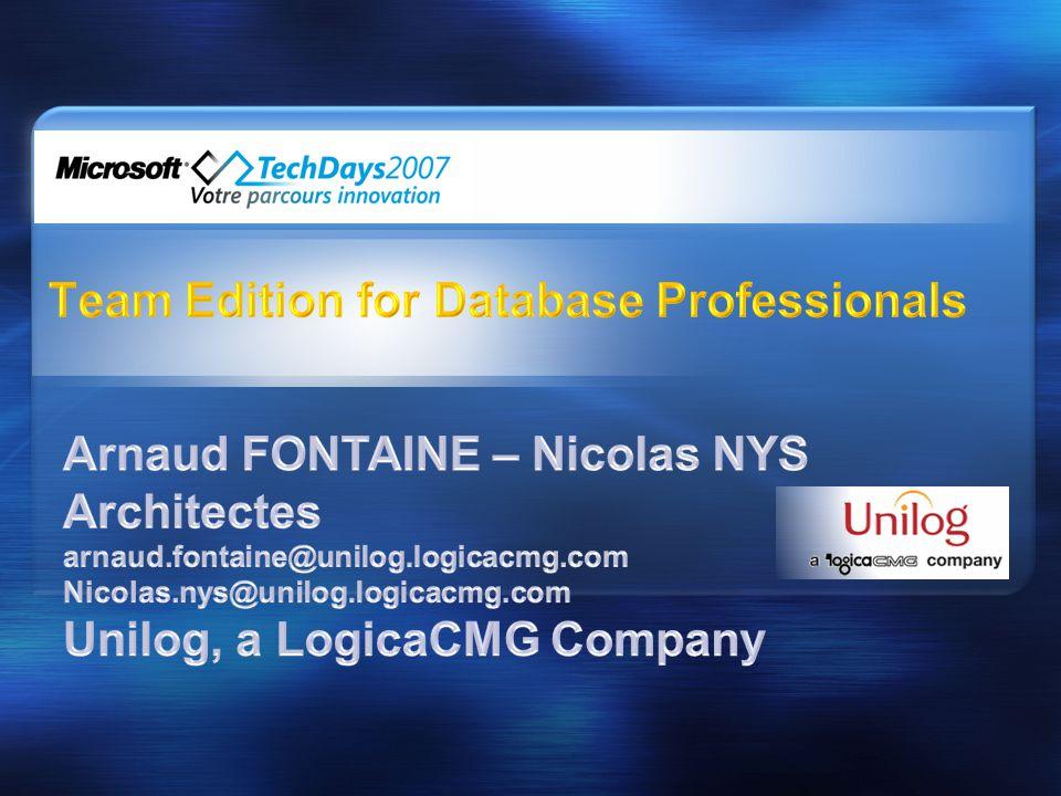 •Présentation de Team Edition for Database Professionals •La méthodologie •Etude de cas