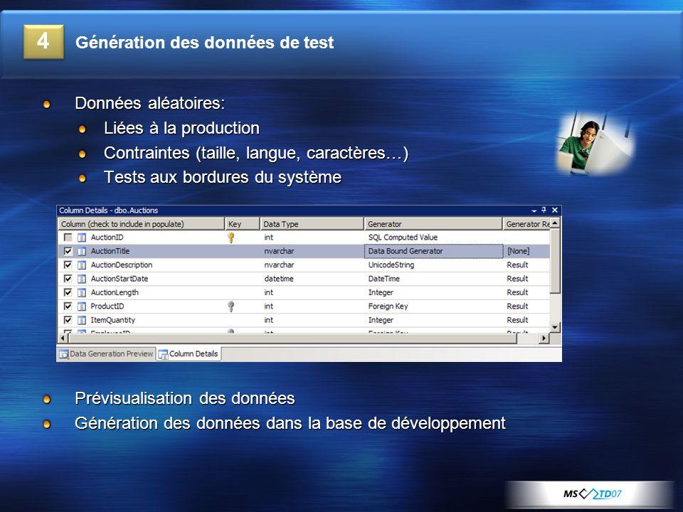 Données aléatoires: Liées à la production Contraintes (taille, langue, caractères…) Tests aux bordures du système Prévisualisation des données Génération des données dans la base de développement 4 Génération des données de test