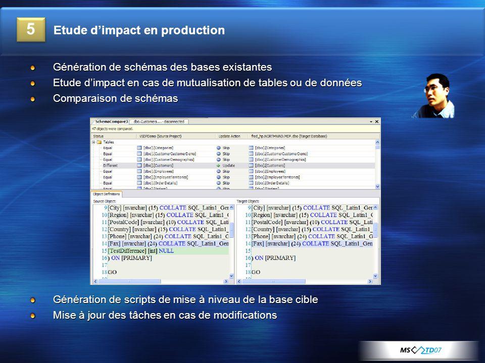 Génération de schémas des bases existantes Etude d'impact en cas de mutualisation de tables ou de données Comparaison de schémas Génération de scripts de mise à niveau de la base cible Mise à jour des tâches en cas de modifications 5 Etude d'impact en production