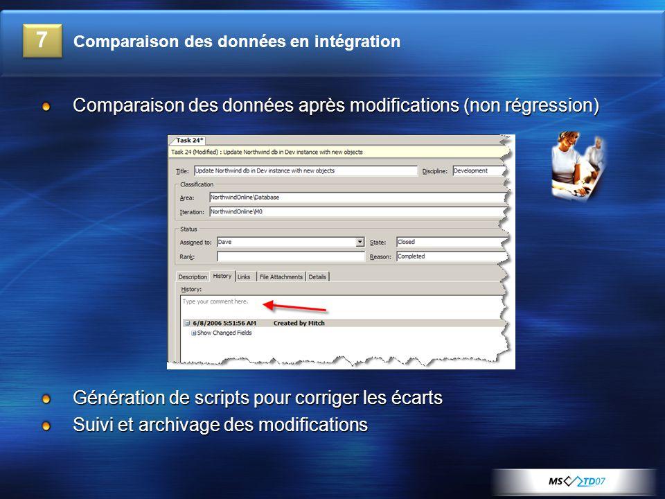 Comparaison des données après modifications (non régression) Génération de scripts pour corriger les écarts Suivi et archivage des modifications 7 Comparaison des données en intégration