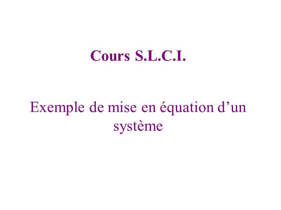 Exemple de mise en équation d'un système Cours S.L.C.I.