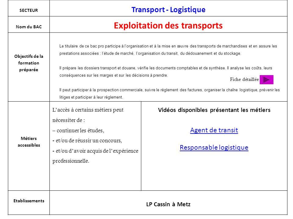 SECTEUR Transport - Logistique Nom du BAC Exploitation des transports Objectifs de la formation préparée Métiers accessibles L'accès à certains métier