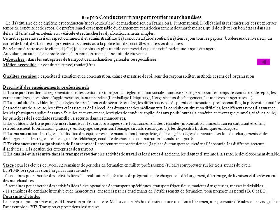 Bac pro Conducteur transport routier marchandises Le (la) titulaire de ce diplôme est conducteur(trice) routier(ière) de marchandises, en France ou à