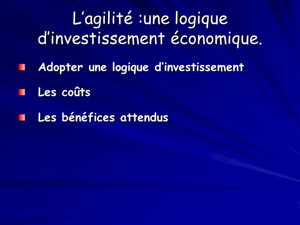 L'agilité :une logique d'investissement économique. Adopter une logique d'investissement Les coûts Les bénéfices attendus