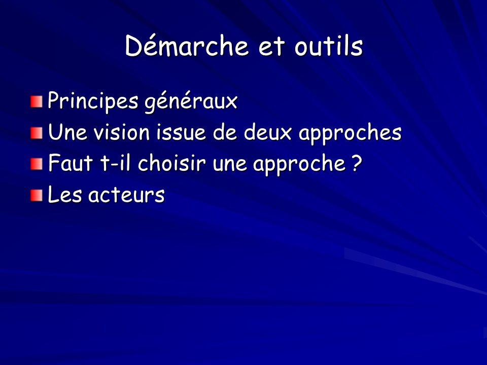 Démarche et outils Principes généraux Une vision issue de deux approches Faut t-il choisir une approche ? Les acteurs