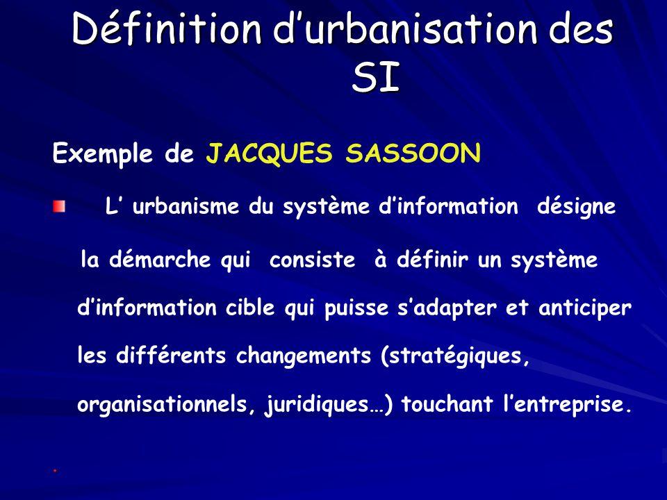 Définition d'urbanisation des SI Exemple de JACQUES SASSOON L' urbanisme du système d'information désigne la démarche qui consiste à définir un systèm
