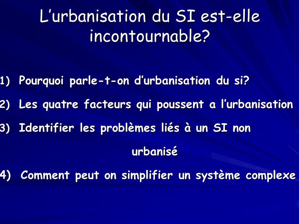 L'urbanisation du SI est-elle incontournable? 1) Pourquoi parle-t-on d'urbanisation du si? 2) Les quatre facteurs qui poussent a l'urbanisation 3) Ide