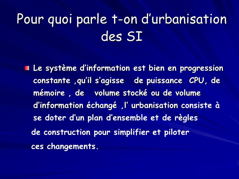 Pour quoi parle t-on d'urbanisation des SI Le système d'information est bien en progression constante,qu'il s'agisse de puissance CPU, de mémoire, de