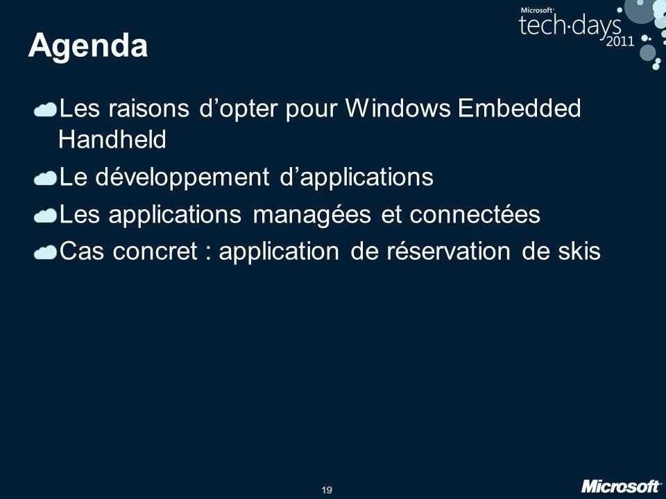 19 Agenda Les raisons d'opter pour Windows Embedded Handheld Le développement d'applications Les applications managées et connectées Cas concret : application de réservation de skis