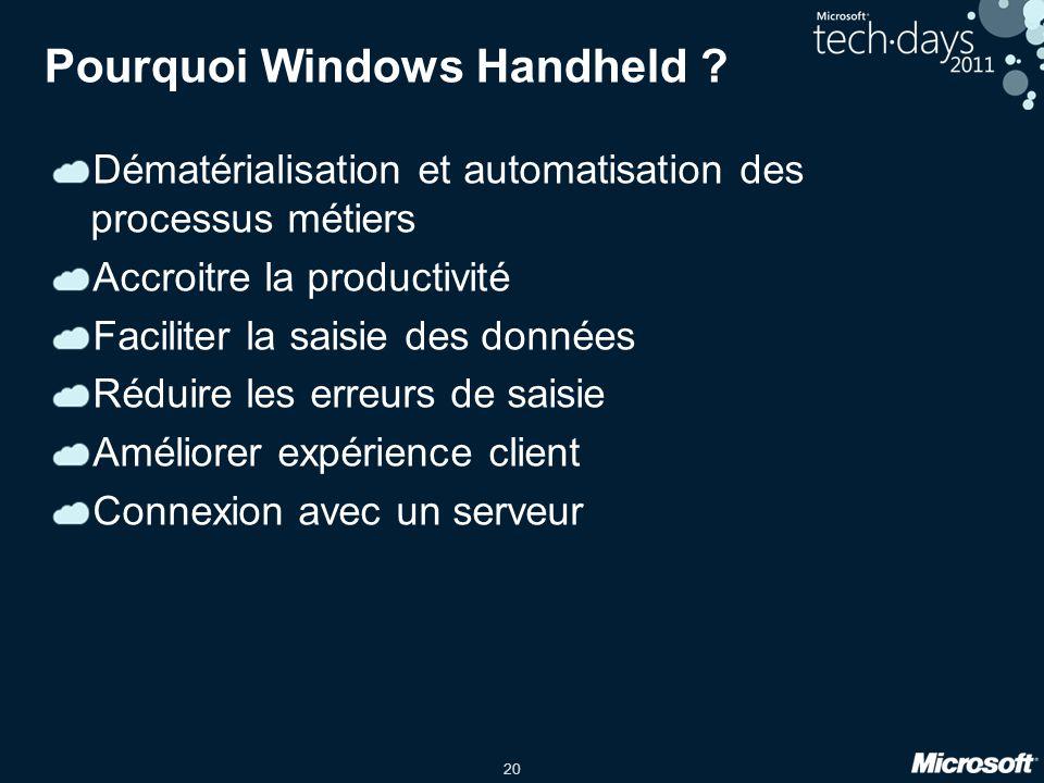 20 Pourquoi Windows Handheld ? Dématérialisation et automatisation des processus métiers Accroitre la productivité Faciliter la saisie des données Réd