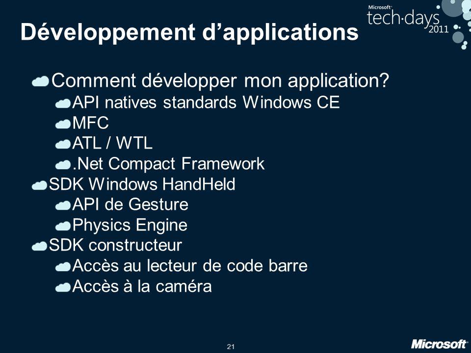21 Développement d'applications Comment développer mon application.