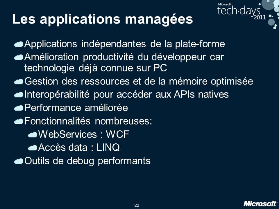 22 Les applications managées Applications indépendantes de la plate-forme Amélioration productivité du développeur car technologie déjà connue sur PC