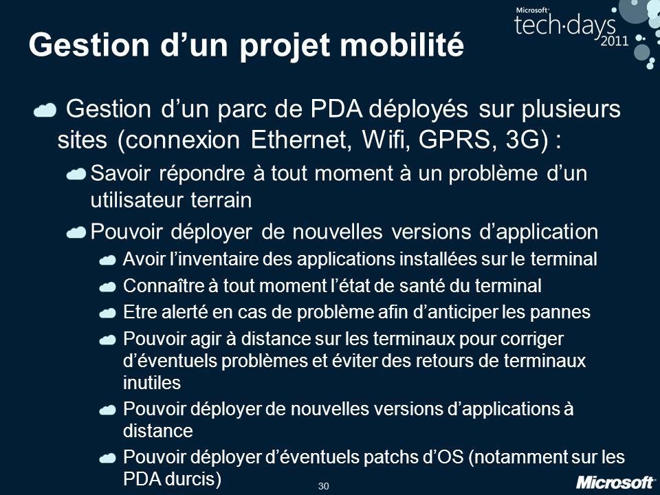 30 Gestion d'un projet mobilité Gestion d'un parc de PDA déployés sur plusieurs sites (connexion Ethernet, Wifi, GPRS, 3G) : Savoir répondre à tout mo