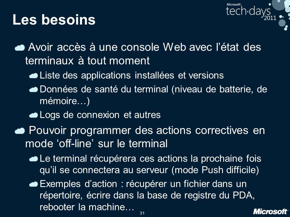 31 Les besoins Avoir accès à une console Web avec l'état des terminaux à tout moment Liste des applications installées et versions Données de santé du