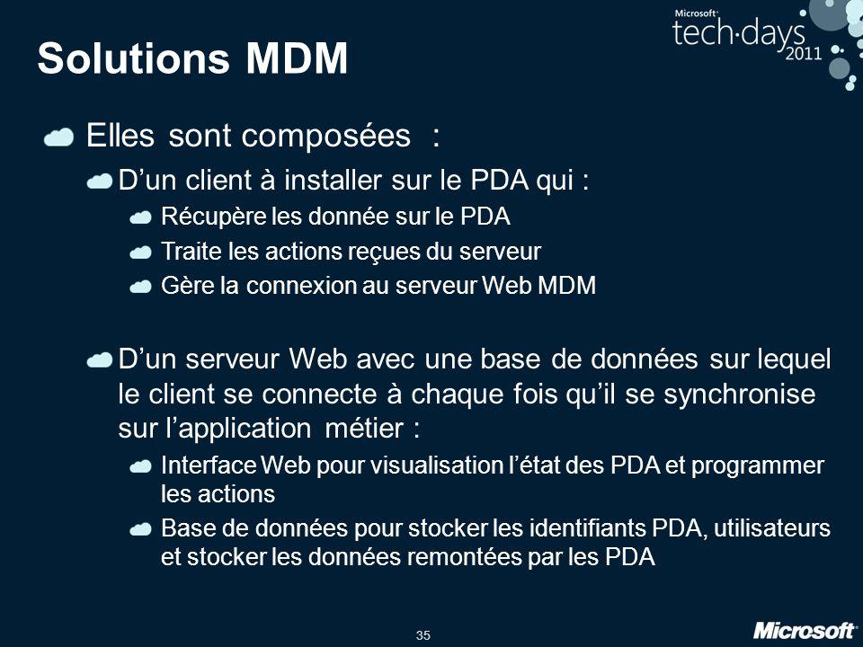 35 Solutions MDM Elles sont composées : D'un client à installer sur le PDA qui : Récupère les donnée sur le PDA Traite les actions reçues du serveur Gère la connexion au serveur Web MDM D'un serveur Web avec une base de données sur lequel le client se connecte à chaque fois qu'il se synchronise sur l'application métier : Interface Web pour visualisation l'état des PDA et programmer les actions Base de données pour stocker les identifiants PDA, utilisateurs et stocker les données remontées par les PDA