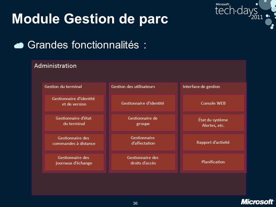 36 Grandes fonctionnalités : Module Gestion de parc Administration Gestion du terminal Gestionnaire d'identité et de version Gestionnaire d'état du te