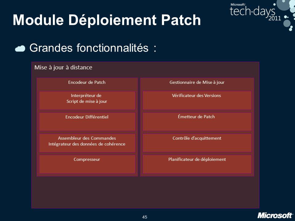 45 Grandes fonctionnalités : Module Déploiement Patch Mise à jour à distance Encodeur de Patch Interpréteur de Script de mise à jour Encodeur Différen