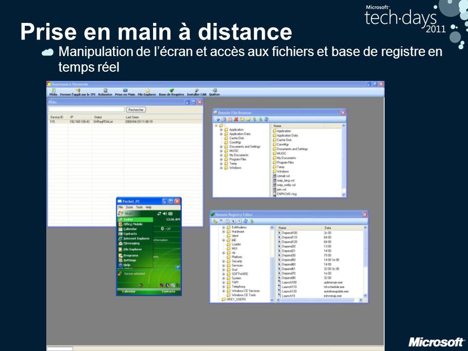 48 Prise en main à distance Manipulation de l'écran et accès aux fichiers et base de registre en temps réel