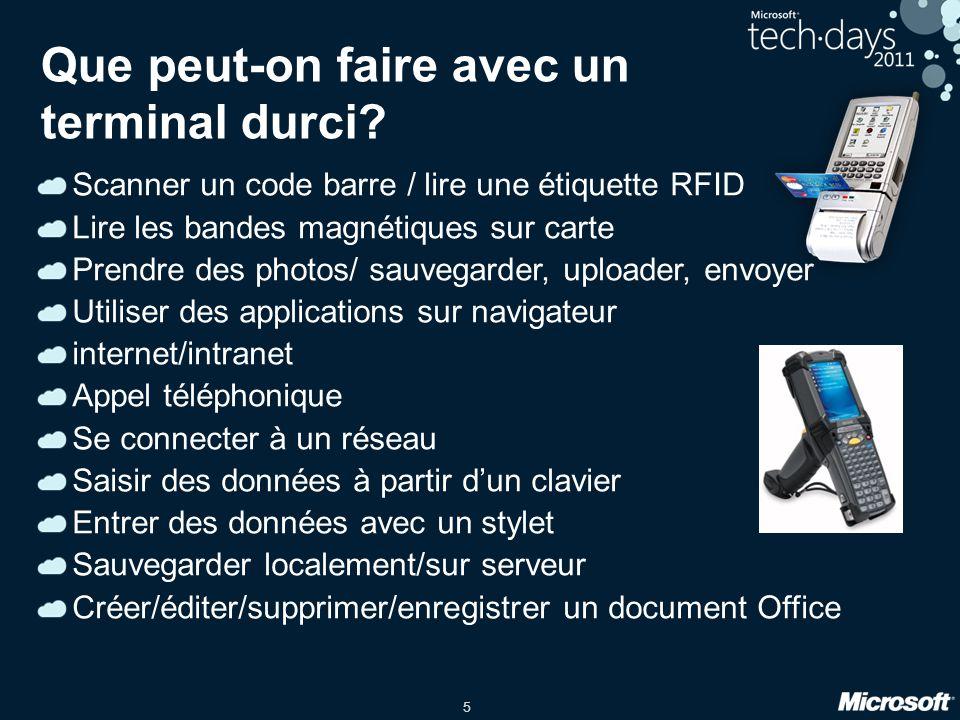 5 Que peut-on faire avec un terminal durci? Scanner un code barre / lire une étiquette RFID Lire les bandes magnétiques sur carte Prendre des photos/