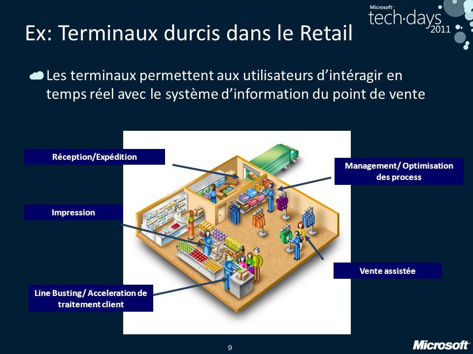 9 Les terminaux permettent aux utilisateurs d'intéragir en temps réel avec le système d'information du point de vente Ex: Terminaux durcis dans le Ret
