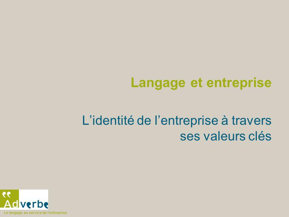 Le langage au service de l'entreprise Langage et entreprise L'identité de l'entreprise à travers ses valeurs clés