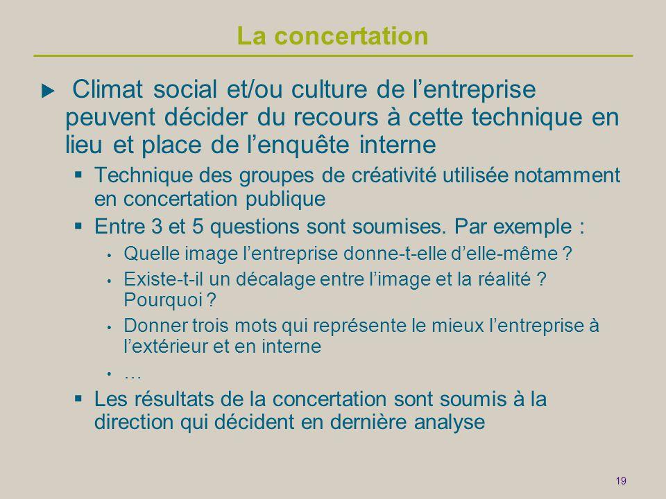 19 La concertation  Climat social et/ou culture de l'entreprise peuvent décider du recours à cette technique en lieu et place de l'enquête interne 