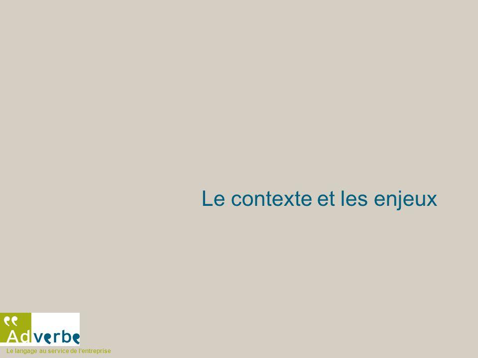 Le langage au service de l'entreprise Le contexte et les enjeux