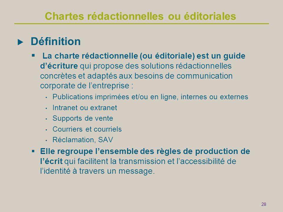 28 Chartes rédactionnelles ou éditoriales  Définition  La charte rédactionnelle (ou éditoriale) est un guide d'écriture qui propose des solutions ré