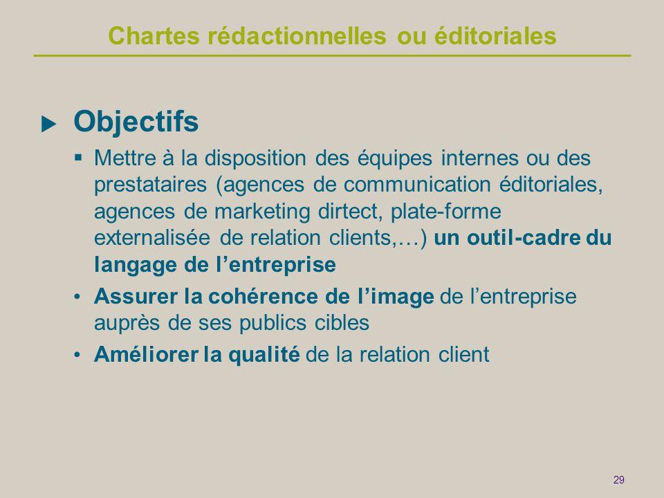 29 Chartes rédactionnelles ou éditoriales  Objectifs  Mettre à la disposition des équipes internes ou des prestataires (agences de communication édi
