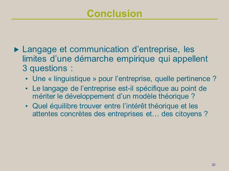 30 Conclusion  Langage et communication d'entreprise, les limites d'une démarche empirique qui appellent 3 questions : • Une « linguistique » pour l'entreprise, quelle pertinence .