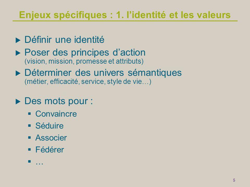 5 Enjeux spécifiques : 1. l'identité et les valeurs  Définir une identité  Poser des principes d'action (vision, mission, promesse et attributs)  D