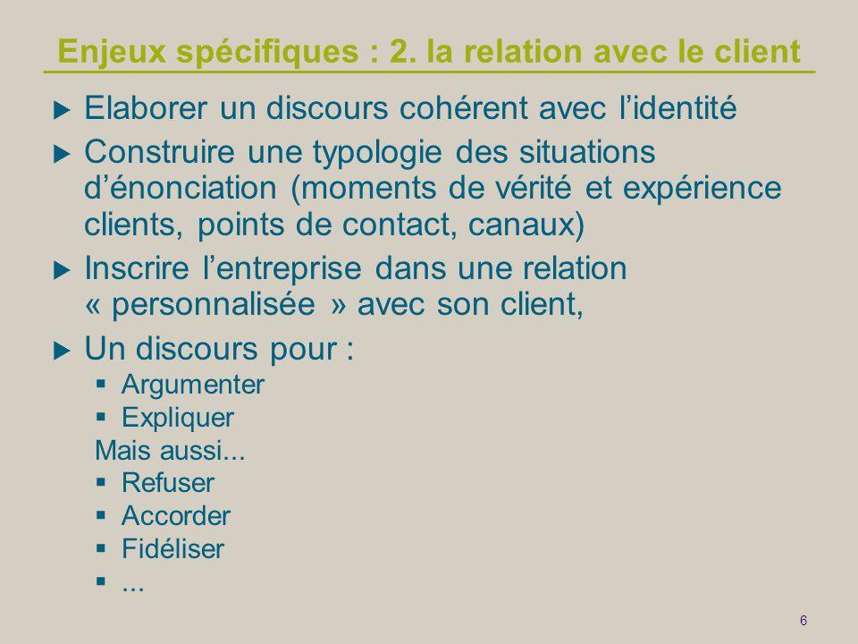 6 Enjeux spécifiques : 2. la relation avec le client  Elaborer un discours cohérent avec l'identité  Construire une typologie des situations d'énonc
