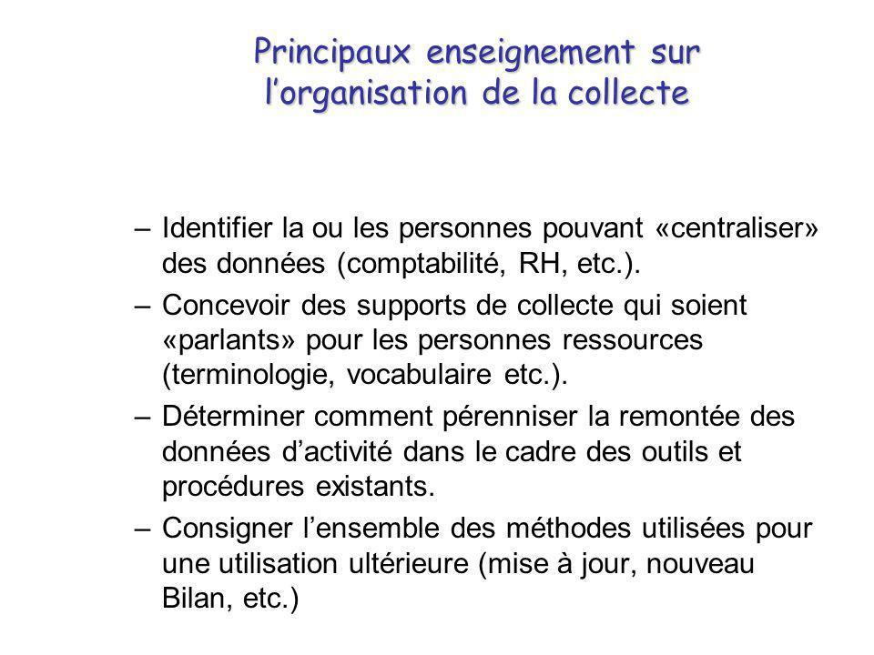 Principaux enseignement sur l'organisation de la collecte –Identifier la ou les personnes pouvant «centraliser» des données (comptabilité, RH, etc.).