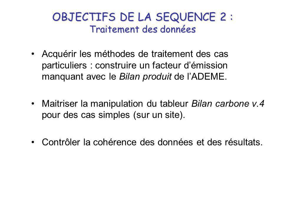OBJECTIFS DE LA SEQUENCE 2 : Traitement des données •Acquérir les méthodes de traitement des cas particuliers : construire un facteur d'émission manqu