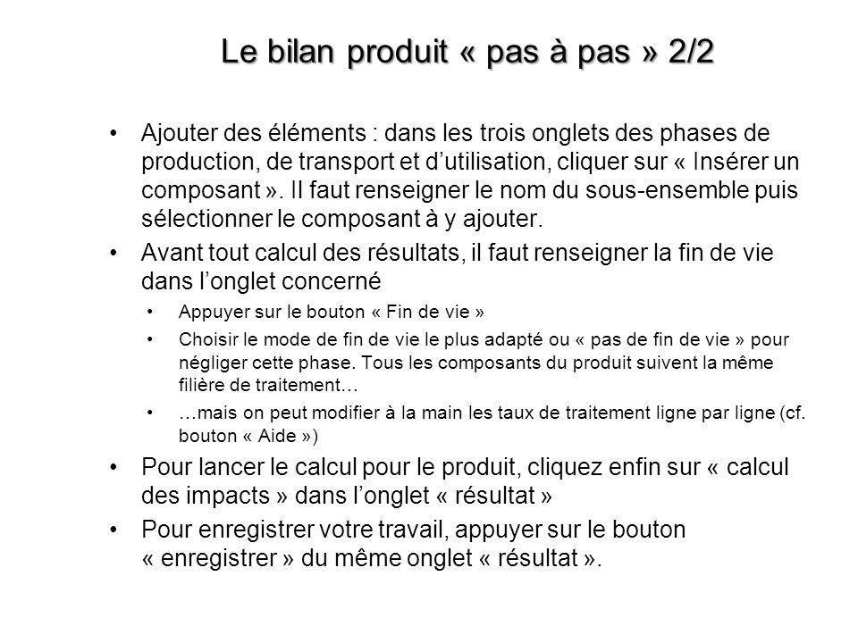 Le bilan produit « pas à pas » 2/2 •Ajouter des éléments : dans les trois onglets des phases de production, de transport et d'utilisation, cliquer sur
