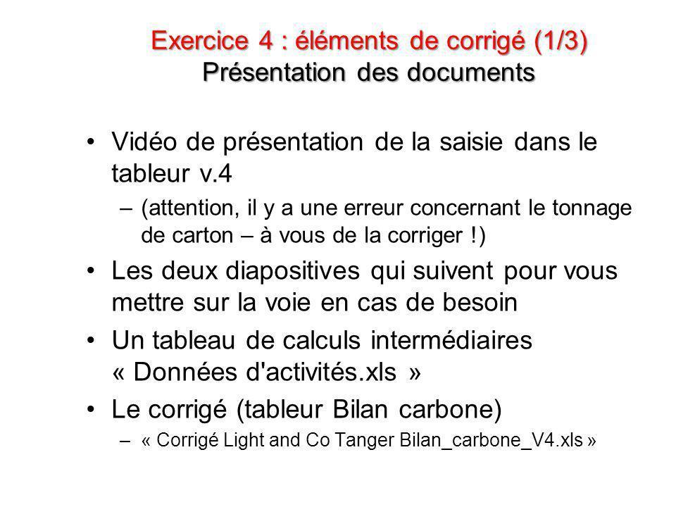 Exercice 4 : éléments de corrigé (1/3) Présentation des documents •Vidéo de présentation de la saisie dans le tableur v.4 –(attention, il y a une erre