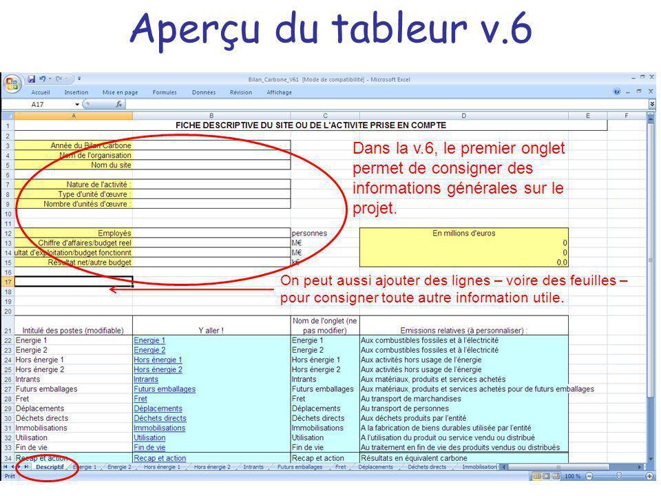 Aperçu du tableur v.6 Dans la v.6, le premier onglet permet de consigner des informations générales sur le projet. On peut aussi ajouter des lignes –