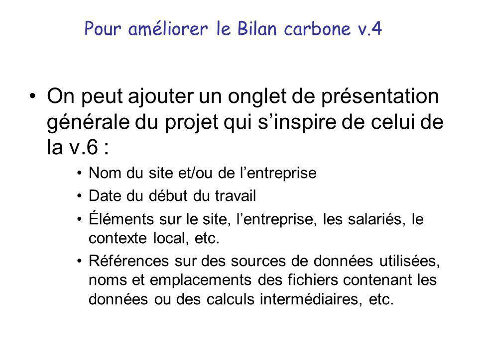 Pour améliorer le Bilan carbone v.4 •On peut ajouter un onglet de présentation générale du projet qui s'inspire de celui de la v.6 : •Nom du site et/o