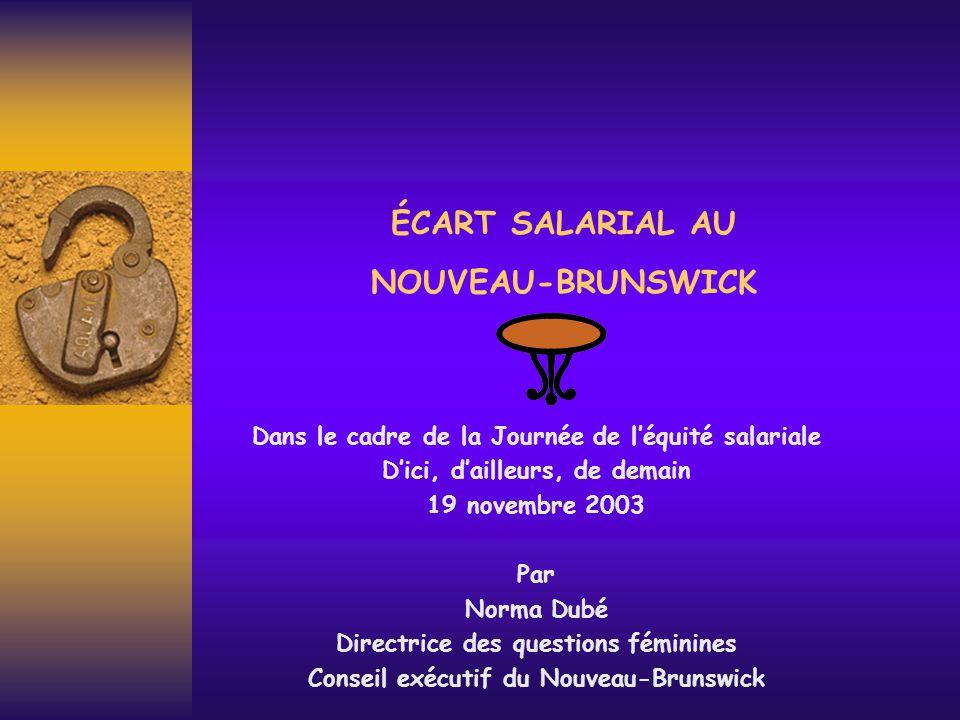 ÉCART SALARIAL AU NOUVEAU-BRUNSWICK Dans le cadre de la Journée de l'équité salariale D'ici, d'ailleurs, de demain 19 novembre 2003 Par Norma Dubé Directrice des questions féminines Conseil exécutif du Nouveau-Brunswick