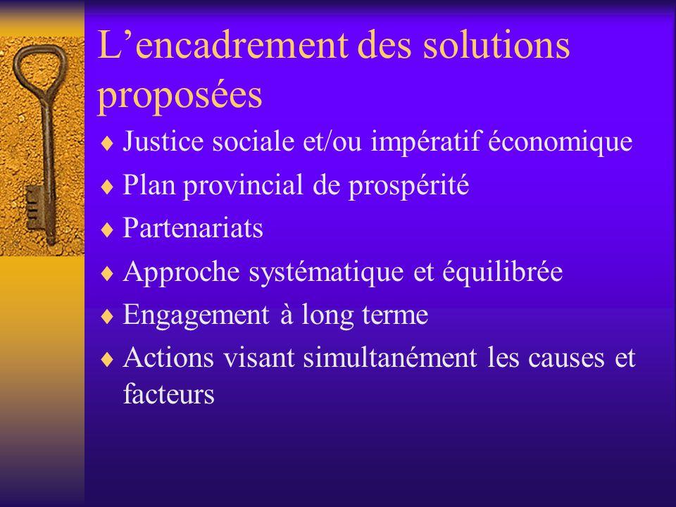L'encadrement des solutions proposées  Justice sociale et/ou impératif économique  Plan provincial de prospérité  Partenariats  Approche systématique et équilibrée  Engagement à long terme  Actions visant simultanément les causes et facteurs