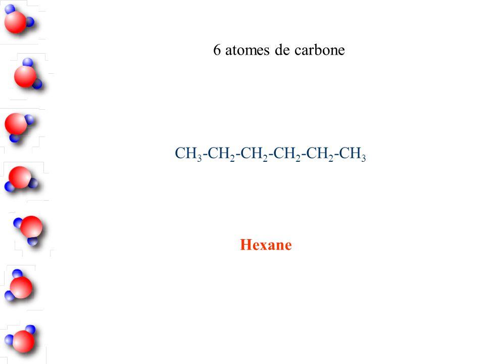 Hexane 6 atomes de carbone CH 3 -CH 2 -CH 2 -CH 2 -CH 2 -CH 3