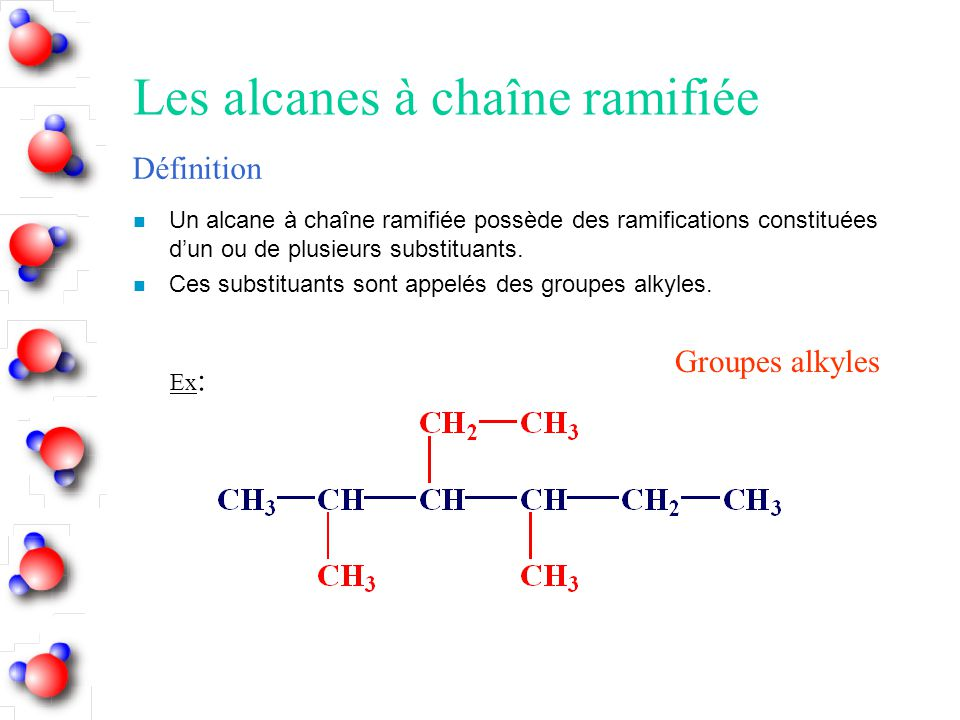 Les alcanes à chaîne ramifiée n Un alcane à chaîne ramifiée possède des ramifications constituées d'un ou de plusieurs substituants. n Ces substituant