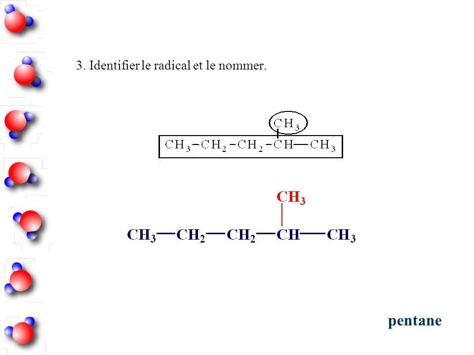 3. Identifier le radical et le nommer. pentane