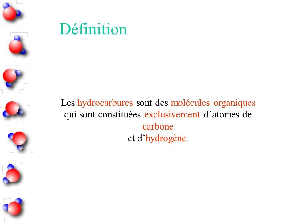 Les hydrocarbures sont des molécules organiques qui sont constituées exclusivement d'atomes de carbone et d'hydrogène. Définition