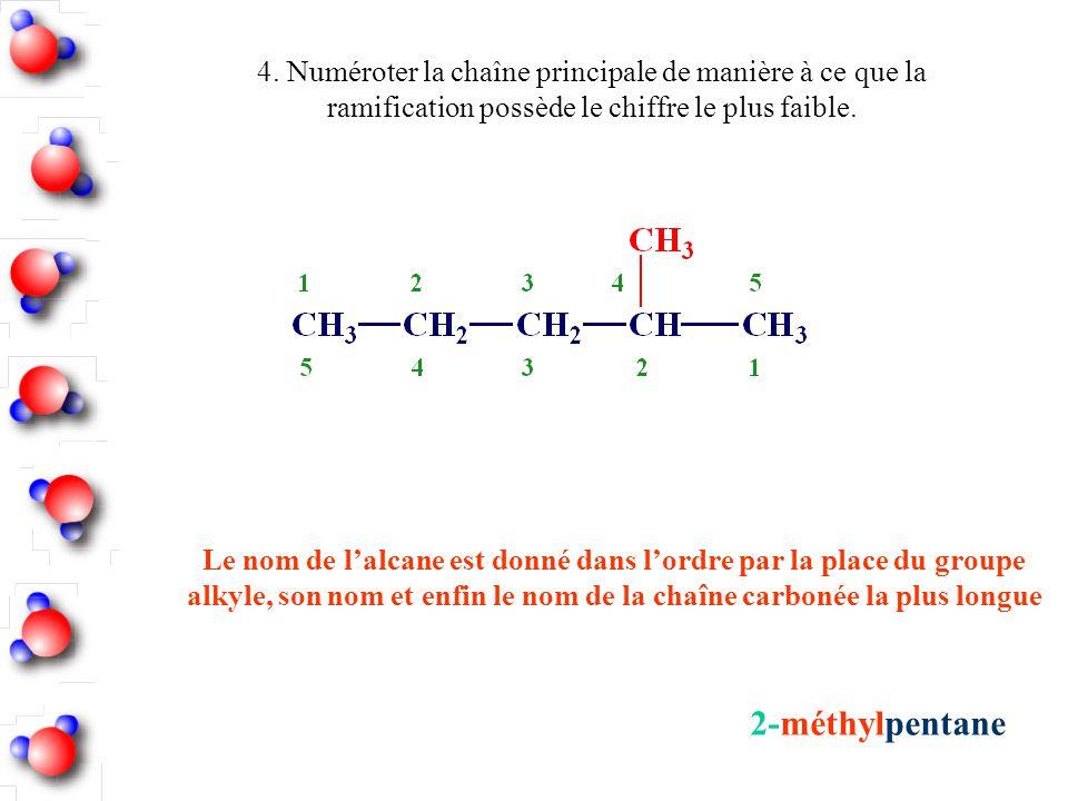 2-méthylpentane 4. Numéroter la chaîne principale de manière à ce que la ramification possède le chiffre le plus faible. Le nom de l'alcane est donné