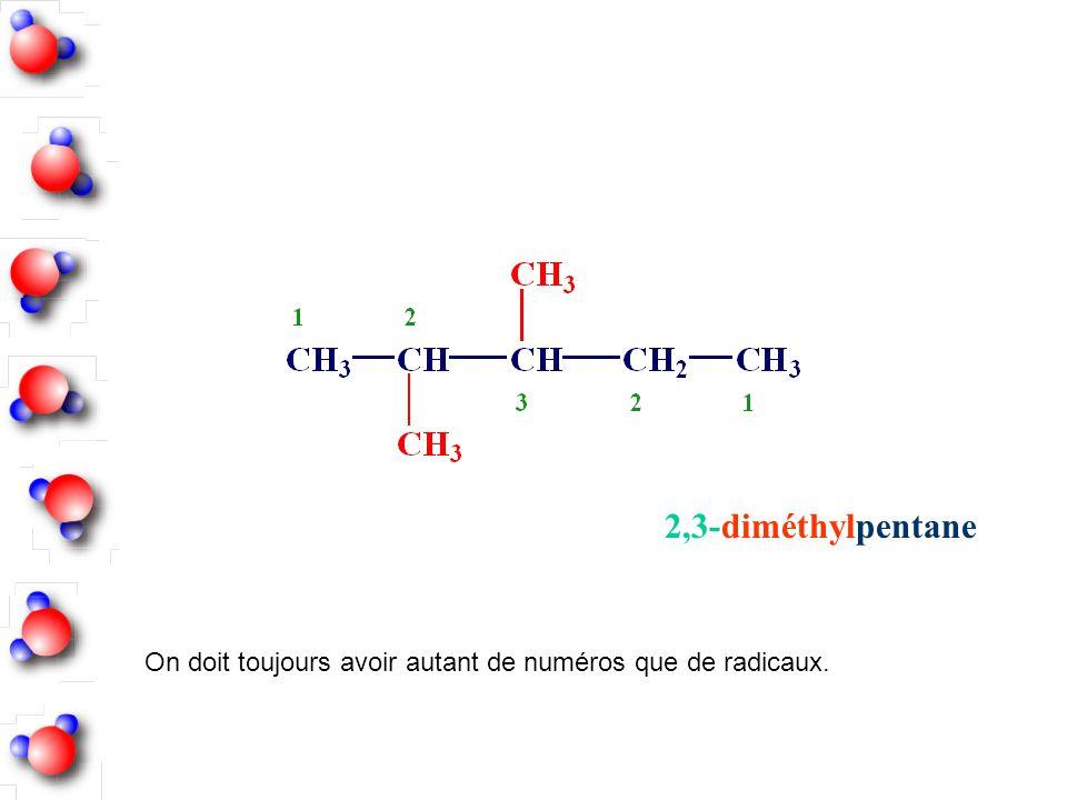 On doit toujours avoir autant de numéros que de radicaux. 2,3-diméthylpentane