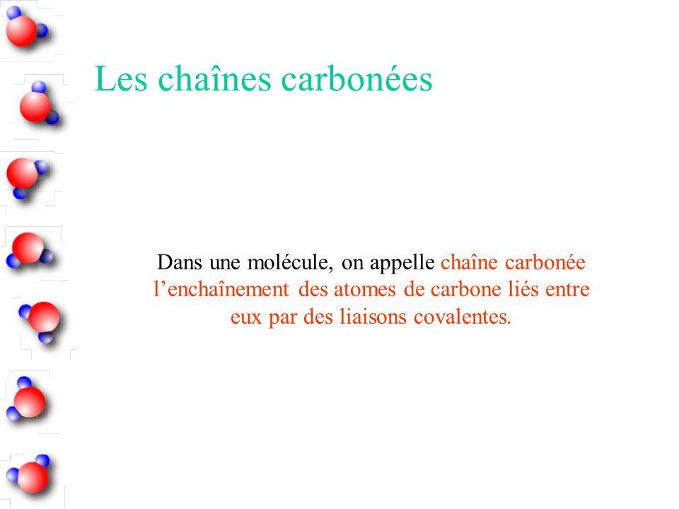 Les chaînes carbonées Dans une molécule, on appelle chaîne carbonée l'enchaînement des atomes de carbone liés entre eux par des liaisons covalentes.