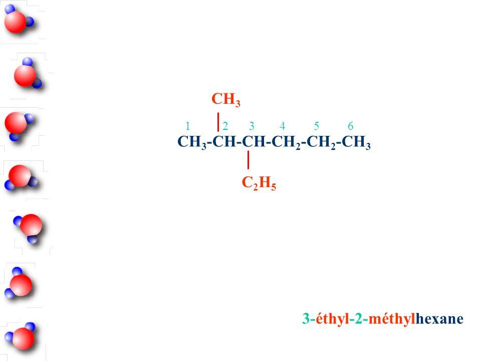 3-éthyl-2-méthylhexane CH 3 -CH-CH-CH 2 -CH 2 -CH 3 CH 3 C2H5C2H5 12 3 456
