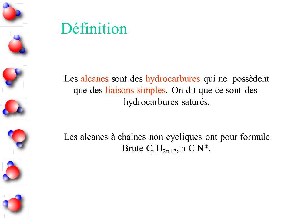 Les alcanes sont des hydrocarbures qui ne possèdent que des liaisons simples. On dit que ce sont des hydrocarbures saturés. Les alcanes à chaînes non